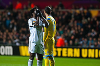 Swansea, UK. Thursday 20 February 2014<br /> Pictured: Wilfried Bony holds his head in his hands after missing a shot at goal<br /> Re: UEFA Europa League, Swansea City FC v SSC Napoli at the Liberty Stadium, south Wales, UK