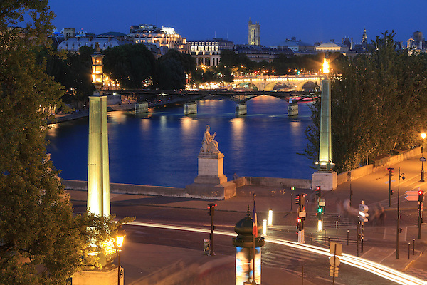 France, Paris. Room View. <br /> Personal souvenir from our hotel room balcony. Seine River at night, Paris, France.
