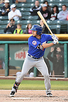 Kirk Nieuwenhuis (9) of the Las Vegas 51s at bat against the Salt Lake Bees at Smith's Ballpark on May 8, 2014 in Salt Lake City, Utah.  (Stephen Smith/Four Seam Images)