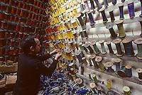 Europe/France/Limousin/23/Creuse/Aubusson: Atelier Tabard - La réserve de laines<br /> PHOTO D'ARCHIVES // ARCHIVAL IMAGES<br /> FRANCE 1980