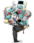 Illustrative image of businessman carrying work load against white background
