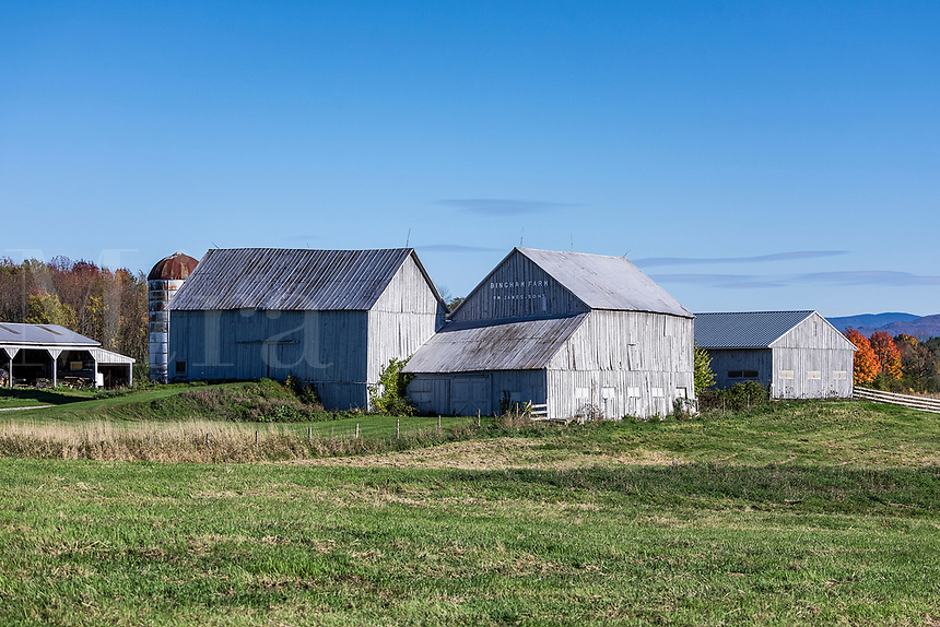 Farm building set in the Vermont countryside, Middlebury, Vermont, USA.