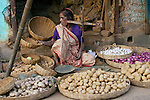 Vegetable seller at market, Kolkata, India
