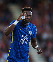 Tammy Abraham of Chelsea covers his face in water during the 2021/22 Pre Season Friendly match between AFC Bournemouth and Chelsea at the Goldsands Stadium, Bournemouth, England on 27 July 2021. Photo by Andy Rowland.
