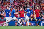 Jordi Alba (C) of Spain fights for the ball with Andrea Belotti (L) and Daniele De Rossi (R) of Italy during their 2018 FIFA World Cup Russia Final Qualification Round 1 Group G match between Spain and Italy on 02 September 2017, at Santiago Bernabeu Stadium, in Madrid, Spain. Photo by Diego Gonzalez / Power Sport Images