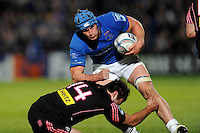 Rhys Ruddock of Leinster charges through Jérémy Sinzelle of Stade Francais during the Amlin Challenge Cup Final between Leinster Rugby and Stade Francais at the RDS Arena, Dublin on Friday 17th May 2013 (Photo by Rob Munro).