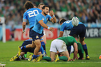 Guglielmo Palazzani of Italy passes during Match 28 of the Rugby World Cup 2015 between Ireland and Italy - 04/10/2015 - Queen Elizabeth Olympic Park, London<br /> Mandatory Credit: Rob Munro/Stewart Communications