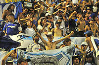 BARRANCABERMEJA- COLOMBIA- 18 -02-2016: Hinchas de Millonarios, animan a su equipo durante partido entre Alianza Petrolera y Millonarios, por la fecha 4 de la Liga Aguila I-2016 jugado en el estadio Daniel Villa Zapata de la ciudad de Barrancabermeja.  /Fans of Millonarios, cheer for their team during a match between Alianza Petrolera and Millonarios, for the date 4 of the Liga Aguila I-2016 at the Daniel Villa Zapata Stadium in Barrancabermeja city, Photo: VizzorImage  / Jose D. Martinez / Cont.