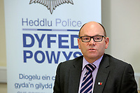 Pictured L-R: Chief Inspector Martin Slevin. Tuesday 07 November 2017<br /> Re: Dyfed Powys Police press conference at Llandrindod Wells over a house fire that killed a father and his children in Llangammarch Wells, mid Wales, UK. <br /> David Cuthbertson, 68, and the children aged between four and 11 are missing, presumed dead, following the blaze.<br /> Three other children aged 10, 12 and 13 escaped and were taken to hospital.<br /> Dyfed-Powys Police said they have been released and are being cared for by family.