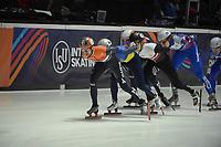 SPEEDSKATING: DORDRECHT: 05-03-2021, ISU World Short Track Speedskating Championships, QF 1500m Men, Oleh Handei (UKR), Itzhak de Laat (NED), Reinis Berzins (LAT), ©photo Martin de Jong