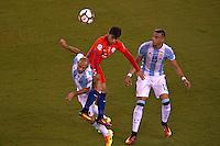Action photo during the match Argentina vs Chile corresponding to the Final of America Cup Centenary 2016, at MetLife Stadium.<br /> <br /> Foto durante al partido Argentina vs Chile cprresponidente a la Final de la Copa America Centenario USA 2016 en el Estadio MetLife , en la foto:(i-d) Javier Mascherano de Argentina y Edson Puch de Chile<br /> <br /> <br /> 26/06/2016/MEXSPORT/JAVIER RAMIREZ