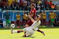 Hugo Almeida of Portugal takes on Mats Hummels of Germany