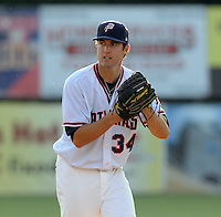 Pitcher Robbie Ray (34) of the Potomac Nationals, a Washington Nationals affiliate, in a game against the Salem Red Sox on June 8, 2012, at Pfitzner Stadium in Woodbridge, Virginia. Ray is Washington's No. 17 prospect, According to Baseball America. Potomac won, 5-4. (Tom Priddy/Four Seam Images)