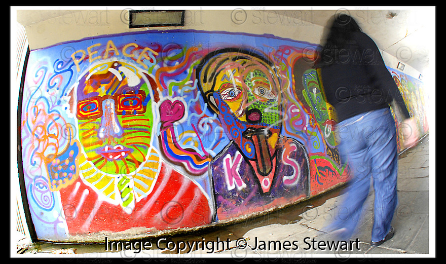 29/08/2007       Copyright Pic: James Stewart.File Name : 05_underpass.ONE OF THE UNDERPASSES IN HALLGLEN PAINTED BY LOCALS....James Stewart Photo Agency 19 Carronlea Drive, Falkirk. FK2 8DN      Vat Reg No. 607 6932 25.Office     : +44 (0)1324 570906     .Mobile   : +44 (0)7721 416997.Fax         : +44 (0)1324 570906.E-mail  :  jim@jspa.co.uk.If you require further information then contact Jim Stewart on any of the numbers above........