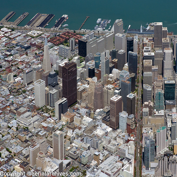 aerial overview of the San Francisco financial district, San Francisco, California