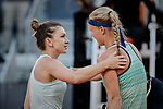 Simona Halep and Kiki Bertens during the Mutua Madrid Open Masters match on day eight at Caja Magica in Madrid, Spain.May 11, 2019. (ALTERPHOTOS/A. Perez Meca)