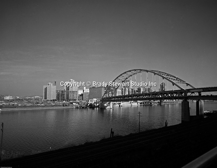 Pittsburgh PA:  View of Hilton Hotel and Fort Pitt Bridge construction from Mount Washington.