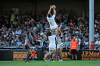20130801 Copyright onEdition 2013 ©<br /> Free for editorial use image, please credit: onEdition.<br /> <br /> Nick Koster of Bath Rugby 7s secures a lineout during the J.P. Morgan Asset Management Premiership Rugby 7s Series.<br /> <br /> The J.P. Morgan Asset Management Premiership Rugby 7s Series kicks off for the fourth season on Thursday 1st August with Pool A at Kingsholm, Gloucester with Pool B being played at Franklin's Gardens, Northampton on Friday 2nd August, Pool C at Allianz Park, Saracens home ground, on Saturday 3rd August and the Final being played at The Recreation Ground, Bath on Friday 9th August. The innovative tournament, which involves all 12 Premiership Rugby clubs, offers a fantastic platform for some of the country's finest young athletes to be exposed to the excitement, pressures and skills required to compete at an elite level.<br /> <br /> The 12 Premiership Rugby clubs are divided into three groups for the tournament, with the winner and runner up of each regional event going through to the Final. There are six games each evening, with each match consisting of two 7 minute halves with a 2 minute break at half time.<br /> <br /> For additional images please go to: http://www.w-w-i.com/jp_morgan_premiership_sevens/<br /> <br /> For press contacts contact: Beth Begg at brandRapport on D: +44 (0)20 7932 5813 M: +44 (0)7900 88231 E: BBegg@brand-rapport.com<br /> <br /> If you require a higher resolution image or you have any other onEdition photographic enquiries, please contact onEdition on 0845 900 2 900 or email info@onEdition.com<br /> This image is copyright the onEdition 2013©.<br /> <br /> This image has been supplied by onEdition and must be credited onEdition. The author is asserting his full Moral rights in relation to the publication of this image. Rights for onward transmission of any image or file is not granted or implied. Changing or deleting Copyright information is illegal as specified in the Copyright, Design and Patents Act 1988. If you are in any way unsure of your right to publish this image please contact onEditi