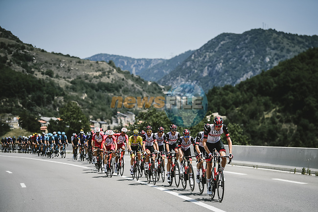 UAE Team Emirates on the front of the peloton during Stage 15 of the 2021 Tour de France, running 191.3km from Ceret to Andorre-La-Vieille, France. 11th July 2021.  <br /> Picture: A.S.O./Pauline Ballet   Cyclefile<br /> <br /> All photos usage must carry mandatory copyright credit (© Cyclefile   A.S.O./Pauline Ballet)