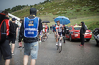 Jarlinson Pantano (COL/IAM) rode with an umbrella for a big part of the last climb up to the finish of stage 9 in Andorra Arcalis (coming from Velha Val d'Aran/ESP, 184km)<br /> <br /> 103rd Tour de France 2016
