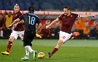 Calcio, Serie A: Roma vs Inter. Roma, stadio Olimpico, 30 novembre 2014.<br /> Roma's Francesco Totti, right, is challenged by FC Inter's Gary Medel during the Italian Serie A football match between AS Roma and FC Inter at Rome's Olympic stadium, 30 November 2014.<br /> UPDATE IMAGES PRESS/Riccardo De Luca