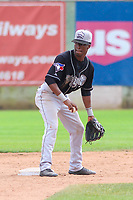 Lansing Lugnuts second baseman Samad Taylor (1) flips the ball to the shortstop between innings during a Midwest League game against the Clinton LumberKings on July 15, 2018 at Ashford University Field in Clinton, Iowa. Clinton defeated Lansing 6-2. (Brad Krause/Four Seam Images)