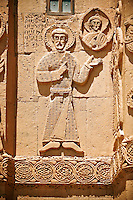 Bas Releif sculptures with scenes from the Bible on the outside of the 10th century Armenian Orthodox Cathedral of the Holy Cross on Akdamar Island, Lake Van Turkey 20
