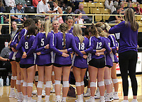 Fayetteville during time out on Thursday, Oct.  7, 2021, during play at Tiger Arena in Bentonville. Visit nwaonline.com/211008Daily/ for today's photo gallery.<br /> (Special to the NWA Democrat-Gazette/David Beach)