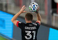 WASHINGTON, DC - SEPTEMBER 06: Julian Gressel #31 of D.C. United throws the ball in during a game between New York City FC and D.C. United at Audi Field on September 06, 2020 in Washington, DC.