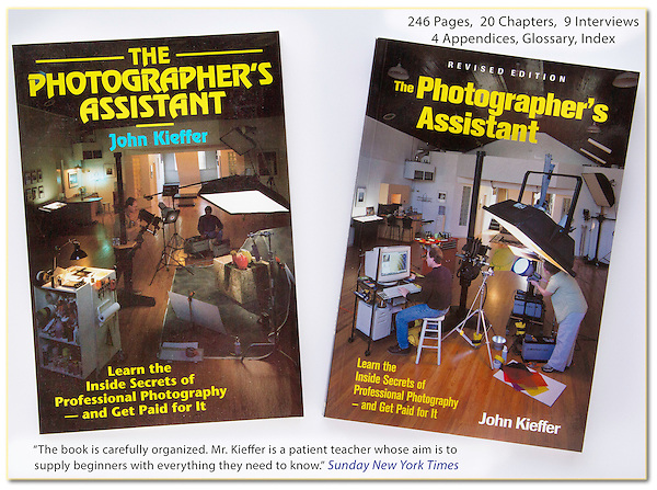 """As a photographer's assistant, I work for (and learn from) many skilled photographers, both in the studio and on location.<br /> Assisting was such an important learning experience, I wrote the critically acclamed: """"The Photographer's Assistant."""" This led to teaching and lecturing in NYC and LA."""