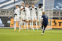 KANSAS CITY, KS - OCTOBER 24: Johnny Russell #7 of Sporting Kansas City shoots on goal from a free kick during a game between Colorado Rapids and Sporting Kansas City at Children's Mercy Park on October 24, 2020 in Kansas City, Kansas.