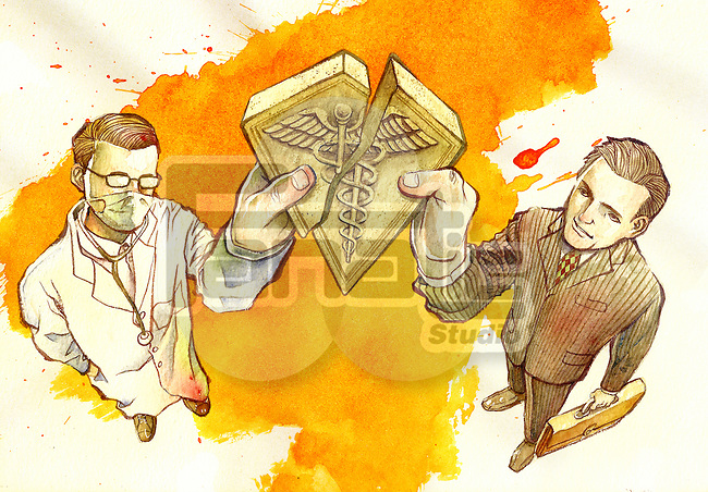 Illustration of doctor and insurance agent joining medical cross symbol