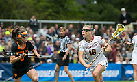 Newton, Massachusetts - May 13, 2018: NCAA Division I tournament. Boston College (white), defeated Princeton University (black), 16-10, at Newton Campus Lacrosse Field.