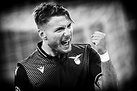 Ciro Immobile of SS Lazio celebrates after scoring the goal of 3-1 during the Champions League Group Stage F football match between SS Lazio and FC Zenit at Olimpic stadium in Rome (Italy), November, 23th, 2020. Photo Andrea Staccioli / Insidefoto