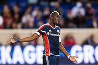 Saer Sene (39) of the New England Revolution looks for a call. The New York Red Bulls defeated the New England Revolution 4-1 during a Major League Soccer (MLS) match at Red Bull Arena in Harrison, NJ, on March 20, 2013.