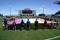 SAN JOSE, CA - JUNE 8: Pride flag during pre-game ceremonies during a game between FC Dallas and San Jose Earthquakes at Avaya Stadium on June 8, 2019 in San Jose, California.