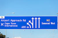 South Africa.  Highway Signs in Cape Town Environs, Western Cape Province.