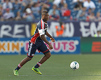 New England Revolution defender Andrew Farrell (2) looks to pass. In a Major League Soccer (MLS) match, the New England Revolution (blue) defeated LA Galaxy (white), 5-0, at Gillette Stadium on June 2, 2013.
