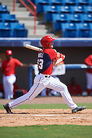 Washington Nationals second baseman Jake Noll (13) during an Instructional League game against the Atlanta Braves on September 30, 2016 at Space Coast Stadium in Melbourne, Florida.  (Mike Janes/Four Seam Images)