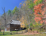 """A barn surrounded by Fall foilage in the Cataloochee section of the Great Smoky Mountains National Park. Three exposure HDR, slightly """"ortonized""""."""