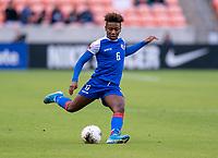 HOUSTON, TX - JANUARY 31: Melchie Dumonay #6 of Haiti crosses the ball during a game between Haiti and Costa Rica at BBVA Stadium on January 31, 2020 in Houston, Texas.