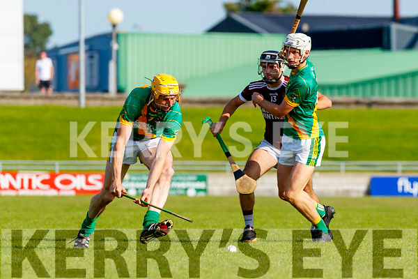 Tom Murnane, Kilmoyley in action against Gavin Dooley, Causeway during the Kerry County Senior Hurling Championship Final match between Kilmoyley and Causeway at Austin Stack Park in Tralee