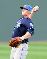 Outfielder Jared Simon (26) of the Asheville Tourists, a Colorado Rockies affiliate, prior to a game against the Greenville Drive on May 14, 2012, at Fluor Field at the West End in Greenville, South Carolina. Asheville won, 11-6. (Tom Priddy/Four Seam Images).