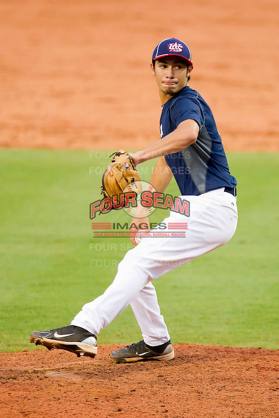 Ricardo Jacquez #7 of Team Blue in action against Team Red during the USA Baseball 18U National Team Trials at the USA Baseball National Training Center on June 30, 2010, in Cary, North Carolina.  Photo by Brian Westerholt / Four Seam Images
