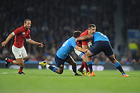 Scott Spedding of France is tackled by Samuela Vunisa of Italy during Match 5 of the Rugby World Cup 2015 between France and Italy - 19/09/2015 - Twickenham Stadium, London <br /> Mandatory Credit: Rob Munro/Stewart Communications
