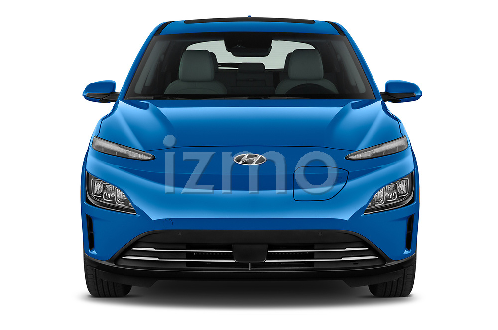 Car photography straight front view of a 2022 Hyundai Kona-Electric Limited 5 Door SUV Front View