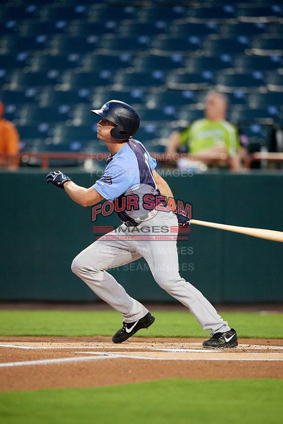 Trenton Thunder center fielder Jeff Hendrix (17) follows through on a swing during the second game of a doubleheader against the Bowie Baysox on June 13, 2018 at Prince George's Stadium in Bowie, Maryland.  Bowie defeated Trenton 10-1.  (Mike Janes/Four Seam Images)