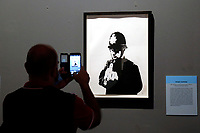 Exhibition of the artist Bansky, titled A visual Protest, at Chiostro del Bramante in Rome. In the picture the painting Rude Copper<br /> Rome (Italy), September 10th 2020<br /> Photo Samantha Zucchi Insidefoto