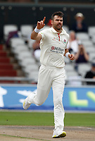 5th July 2021; Emirates Old Trafford, Manchester, Lancashire, England; County Championship Cricket, Lancashire versus Kent, Day 2; James Anderson of Lancashire, celebrates after he takes his first wicket in his first over of the day, having Zak Crawley of Kent caught for a duck