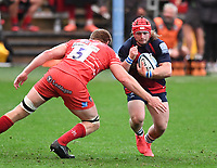 30th September 2020; Ashton Gate Stadium, Bristol, England; Premiership Rugby Union, Bristol Bears versus Leicester Tigers; Harry Thacker of Bristol Bears is tackled by Blake Enever of Leicester Tigers
